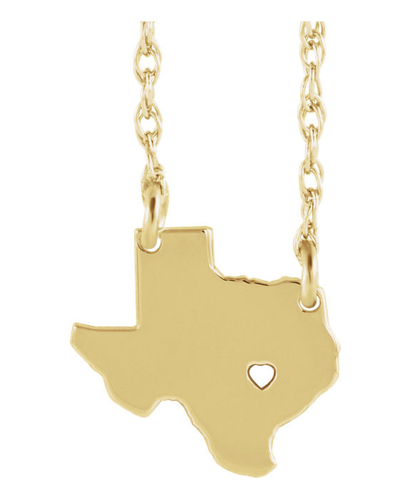 14K Gold Texas Necklace with Pierced Heart and City Name