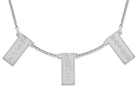 Personalized Triple Vertical Bar Name Necklace, Sterling Silver
