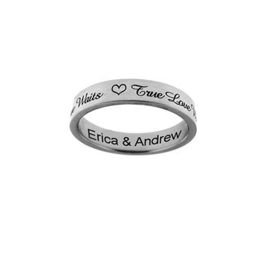"""True Love Waits"" Personalized Purity Ring in Sterling Silver"
