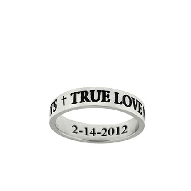 True Love Waits Personalized Purity Ring in Sterling Silver