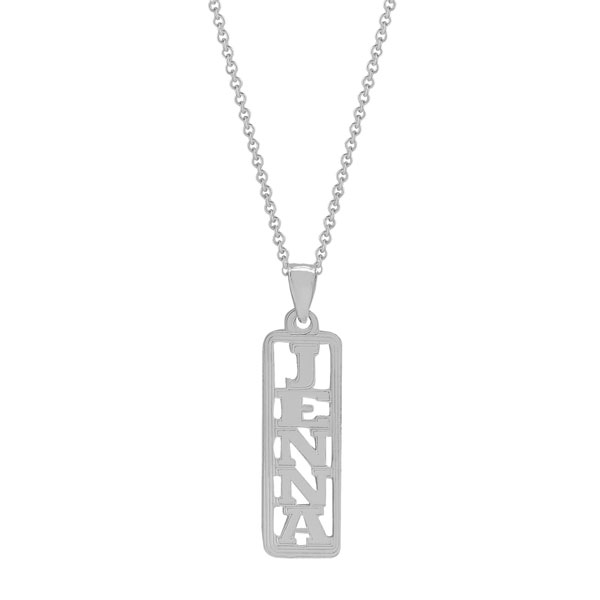 White Gold Vertical Name Plate Necklace