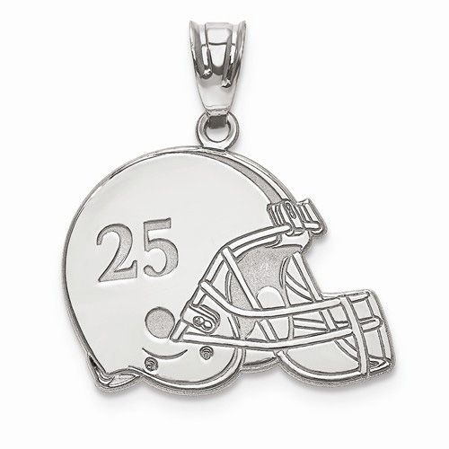 White Gold Football Helmet Pendant with Name and Number