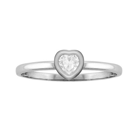 White Topaz Solitaire Heart-Shaped Bezel-Set Ring, White Gold