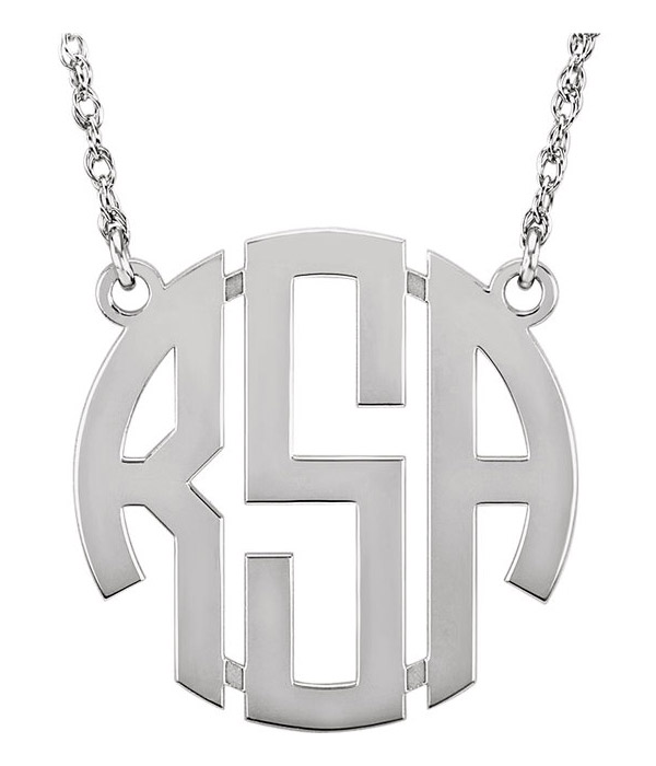 Women's Block Monogram Necklace, Sterling Silver