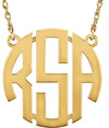Women's 3-Letter Solid Gold Block Monogram Necklace