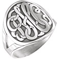 Women's Large Script Monogram Signet Ring in Sterling Silver