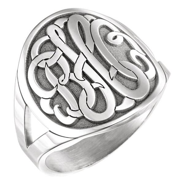 Women's Large Script Monogram Signet Ring in Sterling Silver