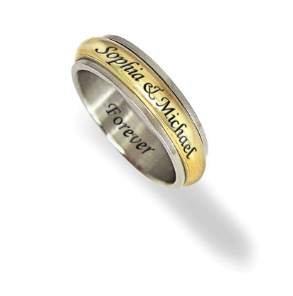 Women's Stainless Steel and Gold Tone 6mm Personalized Spinner Ring