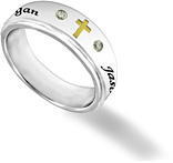 Women's Stainless Steel Cross and CZ Personalized Spinner Ring