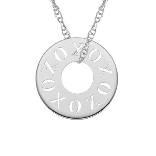 XOXO Circle Necklace in Sterling Silver