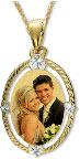Yellow Gold Color Engraved Photo Charm Necklace
