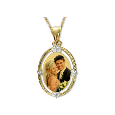 Yellow gold color engraved photo charm necklace aloadofball Image collections
