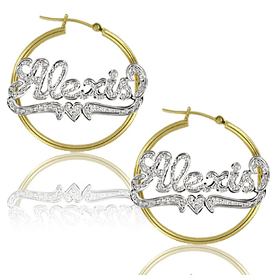 Yellow Gold Custom Stud Name Earrings with Rhodium