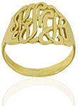 Yellow Gold Filigree Monogrammed Custom Name Ring