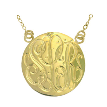 Yellow Gold Handmade Engraved Monogrammed Medallion Jewelry Necklace