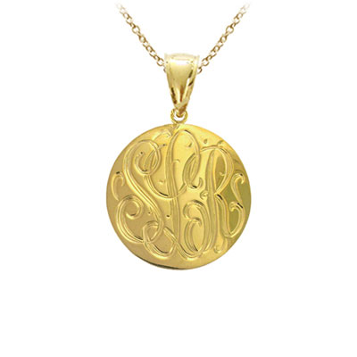 Yellow Gold Handmade Engraved Monogram Medallion Pendant Necklace