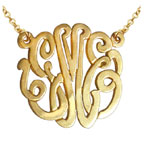 Yellow Gold Handmade Script Monogram Necklace, 1 Inch