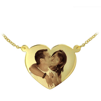Yellow Gold Heart Shaped Color Photo Necklace