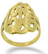 Yellow Gold Initial Script Monogram Ring