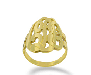 Yellow Gold Initial Script Monogram Ring