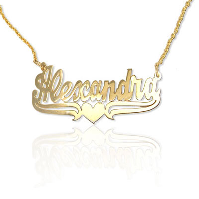 Yellow Gold Name Necklace with Heart Accent