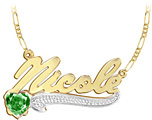 Yellow Gold Name Pendant with Heart Birthstone and Figaro Necklace