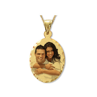 Yellow Gold Oval Color Photo Jewelry Pendant with Diamond Cut Edges