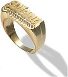 Yellow Gold Personalized Diamond-Cut Name Ring