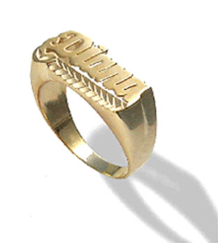 Yellow Gold Personalized Diamond-Cut Name Ring