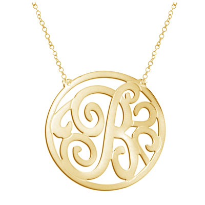 Yellow Gold Personalized Monogrammed Necklace
