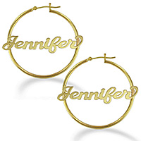 Yellow Gold Personalized Name Polished Hoop Earrings