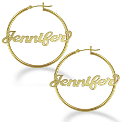 cc965a2e8 Yellow Gold Personalized Name Polished Hoop Earrings