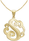 Yellow Gold Personalized Single Initial Jewelry Necklace