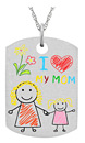 Your Kid's Art Drawing Dog Tag Necklace in Sterling Silver
