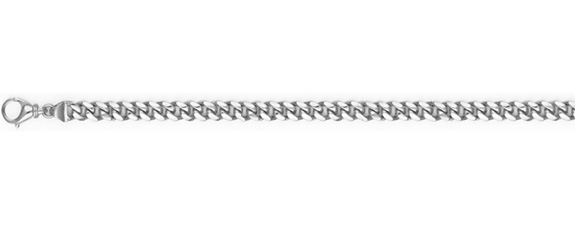 Platinum 4.5mm Cuban Curb Link Chain Necklace