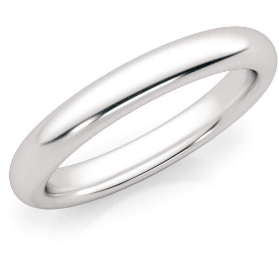 3mm Platinum Plain Wedding Band Ring