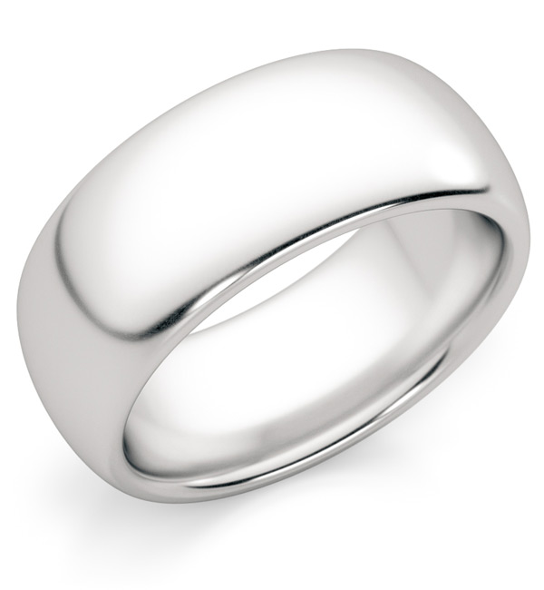 8mm Comfort Fit 14K White Gold Wedding Band Ring