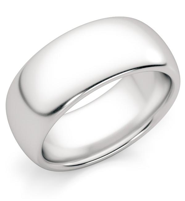 8mm Comfort-Fit Platinum Plain Wedding Band Ring