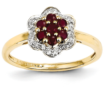 14K Gold Flower Ruby and Diamond Ring