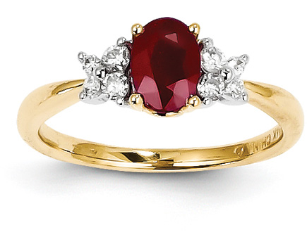 14K Gold Ruby and Diamond Floral Ring