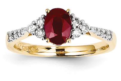 Ruby and Diamond Cluster Ring, 14K Yellow Gold