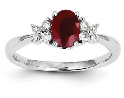 Ruby Diamond Floral Ring, 14K White Gold