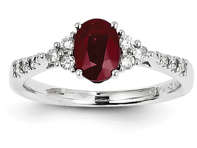 14K White Gold Ruby and Diamond Cluster Ring