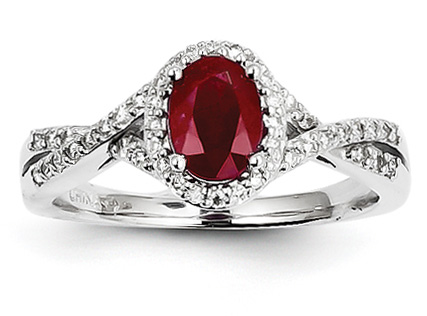 Ruby and Diamond Twist Ring, 14K White Gold
