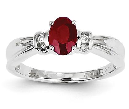 0.98 Carat Ruby and Diamond Ring, 14K White Gold