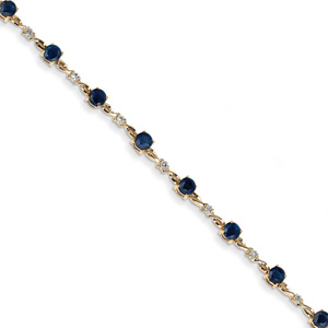 14K Gold Sapphire and Diamond Bracelet