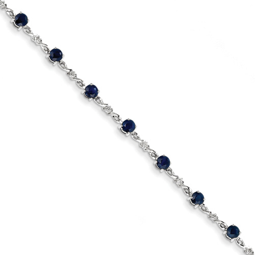 Sapphire and Diamond Bracelet, 14K White Gold
