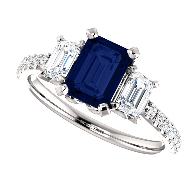 0b815c26369c2c Three-Stone Emerald-Cut Blue Sapphire and Diamond Ring. Item #  :STLRG-123584SP Retail Value: 3650.00. Price: $2,950.00