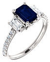 Three-Stone Emerald-Cut Blue Sapphire and Diamond Ring