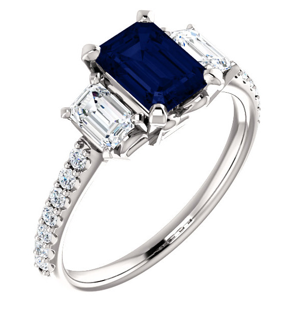 86de34e1db9dd4 Three-Stone Emerald-Cut Blue Sapphire and Diamond Ring